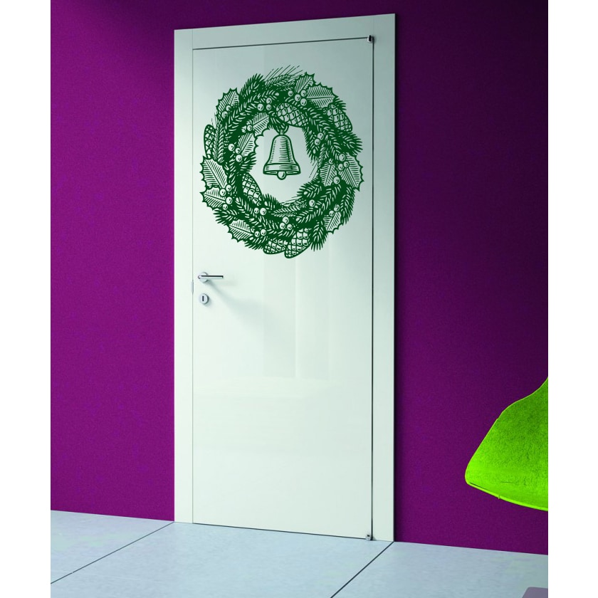 Christmas wreath with bell Wall Art Sticker Decal Green (...