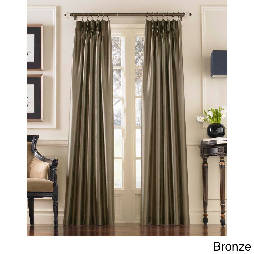 CHF Marquee Faux Silk Pinch Pleat Curtain Panel (Bronze -...