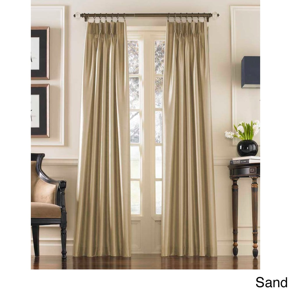 CHF Marquee Faux Silk Pinch Pleat Curtain Panel (Sand - 1...