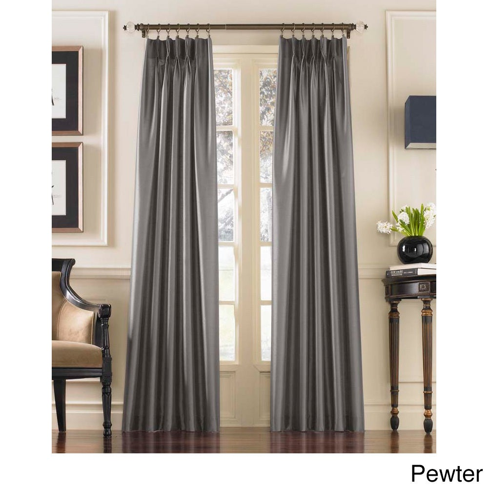 CHF Marquee Faux Silk Pinch Pleat Curtain Panel (Pewter -...