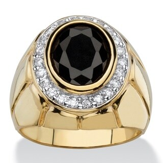 PalmBeach 14k Gold Overlay Men's 4 1/5ct TGW Oval Black and White Cubic Zirconia Faceted Halo Ring