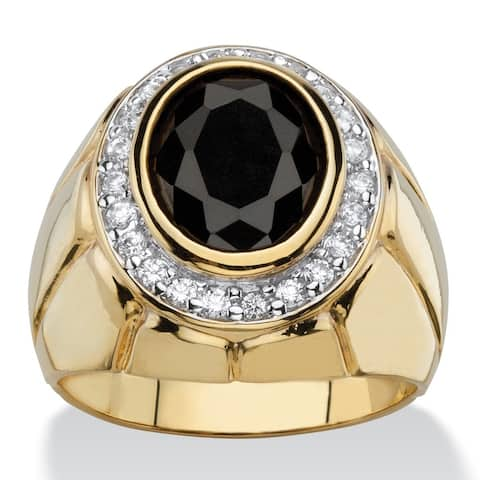 14k Gold Overlay Men's 4 1/5ct TGW Oval Black and White Cubic Zirconia Faceted Halo Ring