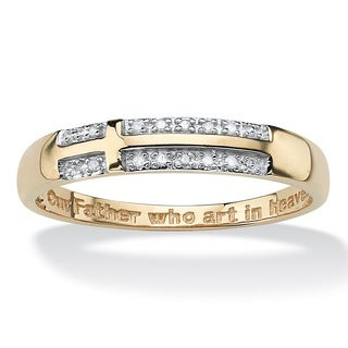 PalmBeach 14k Yellow Gold over Sterling Silver Men's Pave Diamond Accent Horizontal Lord's Prayer Cross Band