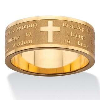 Gold over Stainless Steel Men's Serenity Prayer Inscription Ring