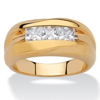PalmBeach 18k Yellow Gold Overlay Men's 7/8ct TGW Square-cut Cubic Zirconia Channel-set Ring