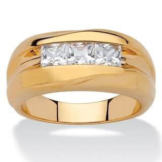 18k Yellow Gold Overlay Men's 7/8ct TGW Square-cut Cubic Zirconia Channel-set Ring