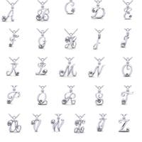 14k White Gold Diamond Accent Swirly Initial Necklace with Free 18-inch Cable Chain