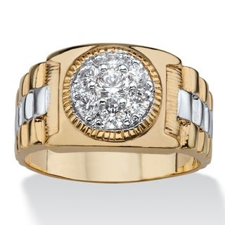 14k Two-Tone Goldplated Men's Cubic Zirconia Cluster Ring