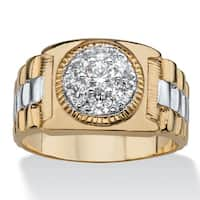 Two-Tone Goldplated Men's Cubic Zirconia Cluster Ring
