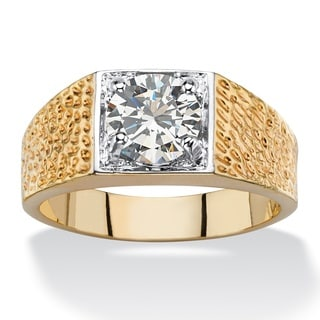 14k Two-Tone Goldplated Men's Cubic Zirconia Textured Ring