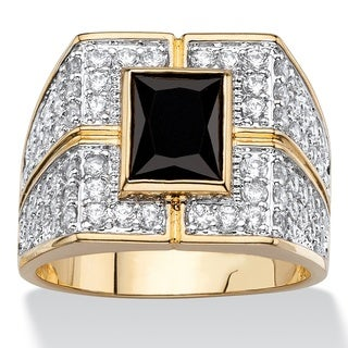 Two-Tone Goldplated Men's Black and White Cubic Zirconia Grid Ring