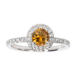 14k White Gold 2/5 ctw Diamond and Citrine Birthstone Ring (H-I, S12-I1)