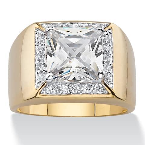 14k Yellow Goldplated Men's Cubic Zirconia Halo Ring