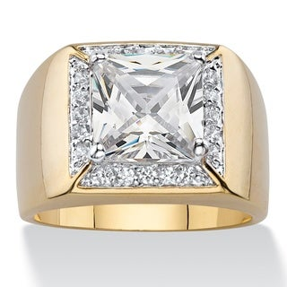 PalmBeach 14k Yellow Goldplated Men's Cubic Zirconia Halo Ring