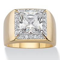 14k Yellow Goldplated Men's Cubic Zirconia Halo Ring
