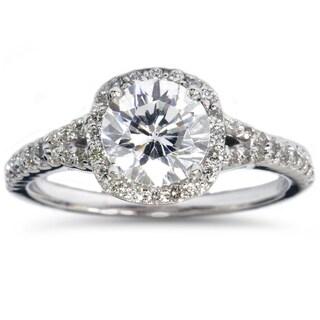 14k White Gold 1 7/8ct TDW Enhanced Clarity Diamond Halo Engagement Ring