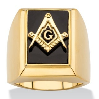14k Gold Overlay Men's Black Onyx Masonic Square and Compasses Cabochon Ring