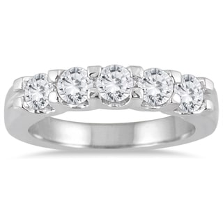 Marquee Jewels 14k White Gold 1ct TDW Diamond 5 Stone Wedding Band