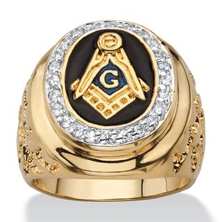 PalmBeach 14k Gold Overlay Men's 1/3ct TGW Enamel and Cubic Zirconia Masonic Nugget Ring