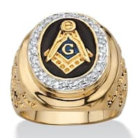 14k Gold Overlay Men's 1/3ct TGW Enamel and Cubic Zirconia Masonic Nugget Ring