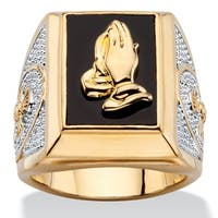 Two-Tone Goldplated Men's Emerald-Cut Genuine Black Onyx Praying Hands Ring