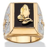 14k Two-Tone Goldplated Men's Emerald-Cut Genuine Black Onyx Praying Hands Ring
