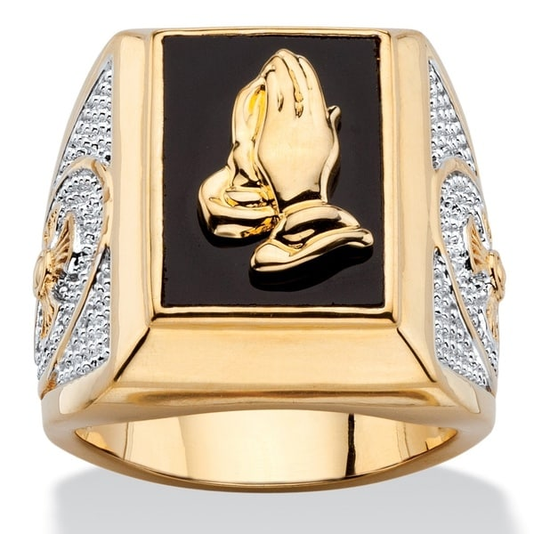 Two-Tone Goldplated Men's Emerald-Cut Genuine Black Onyx Praying Hands Ring