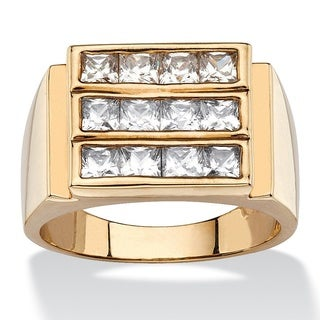 PalmBeach 14k Gold Overlay Men's 1 7/8ct TGW Square-cut Cubic Zirconia Triple-Row Ring