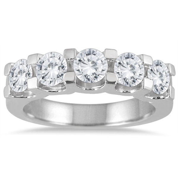 Marquee Jewels 14k White Gold 2ct TDW Diamond 5 Stone Band