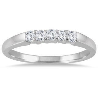 Marquee Jewels 10k White Gold 1/4ct TDW Diamond 5 Stone Band (I-J, I2-I3)