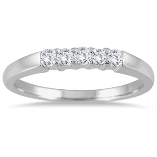 Marquee Jewels 10k White Gold 1/4ct TDW Diamond 5 Stone Band