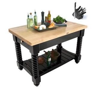 John Boos TUSI7232-BK Tuscan Isle Black 72 x 32 Block Table and Bonus 13-piece Henckels Knife Set