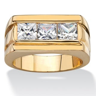 PalmBeach 14k Gold Overlay Men's 2 1/10ct TGW Square-cut Cubic Zirconia Squared-Back Ring