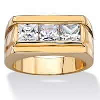 14k Gold Overlay Men's 2 1/10ct TGW Square-cut Cubic Zirconia Squared-Back Ring