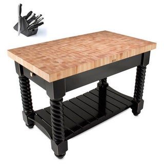 John Boos TUSI5432225EG-BK Tuscan Isle Black 54 x 32 Block Table and Bonus 13-piece Henckels Knife Set