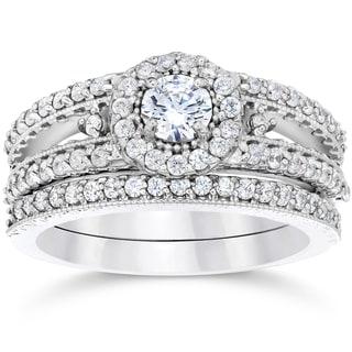 14K White Gold 1ct TDW Vintage Halo Diamond Engagement Wedding Ring Set (I-J, I2-I3)