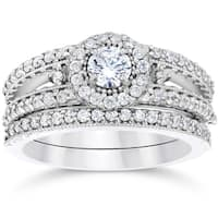 14K White Gold 1ct TDW Vintage Halo Diamond Engagement Wedding Ring Set