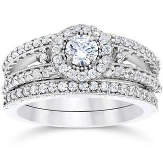 14K White Gold 1ct TDW Vintage Halo Diamond Engagement Wedding Ring Set