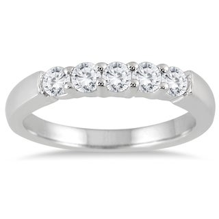 Marquee Jewels 10k White Gold 1ct TDW Diamond 5 Stone Band