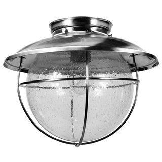 HomeSelects Coastal Stainless Steel Seeded Glass Exterior Ceiling Light