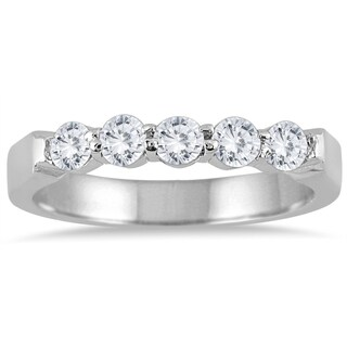Marquee Jewels 10k White Gold 1/2ct TDW Diamond 5 Stone Band (J-K, I2-I3)