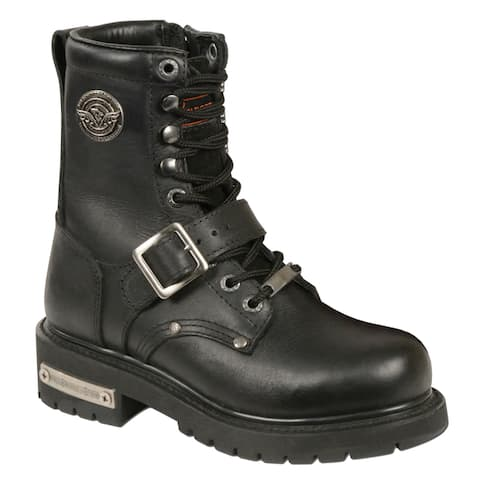 Womens Black Leather Buckle and Lace-up Side-zipper Motorcycle Boots