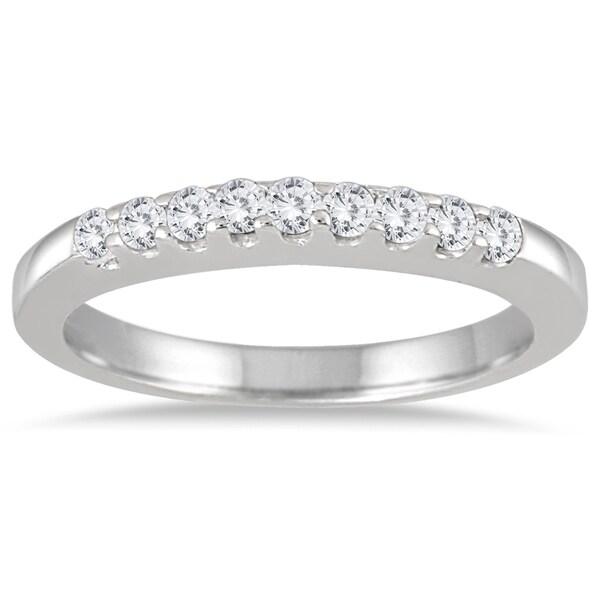 Marquee Jewels 10k White Gold 1/4ct TDW Diamond 9 Stone Wedding Band (J-K, I2-I3)