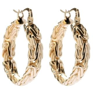 18k Gold Overlay 1.25-inch Filigree Hoop Earrings