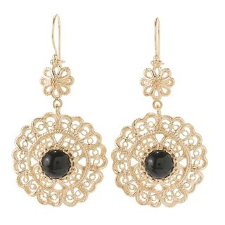 18k Yellow Gold Filigree Black Cabochons Earrings