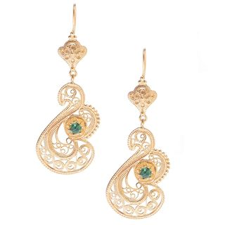 14k Gold Overlay Malachite Swan Earrings