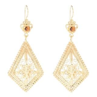 18k Gold Overlay Bead Filigree Earrings