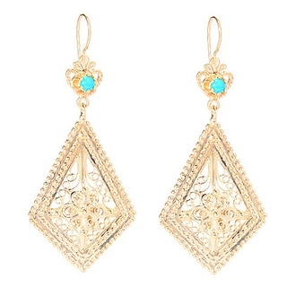 18k Gold Overlay Bead Filigree Earrings