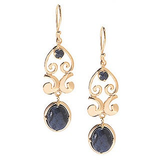 Classic Design Gold Plated Blue Dumortierite Cabochon Earrings