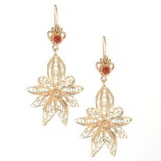 18k Gold Overlay Carnelian Accent Floral Filigree Earrings